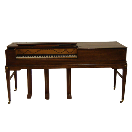 Garcka Square Piano Mahogany Inlaid Case antique